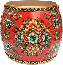 QINGPINGGUO QPG Hocker Massivholz Neue Chinesische Stickerei Pier Hocker Kuhfell Painted Klassischen Sofa Hocker Guzheng Hocker Yangmu Drum Hocker (Farbe : C)
