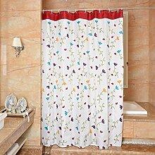 Qingv Einfaches Bad Dusche Vorhang Orchideen - wasserdichte gepolsterte Mehltau Polyestergewebe Duschvorhang,180*200 cm