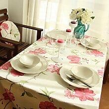 Qingv Im Landhausstil Blumenmuster aus reiner Baumwolle Esstische Deckel Tischdecke, Blume, 140 * 180 cm.