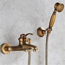 QINLEI europäische antike taschenbuch kupfer badewanne wasserhahn wasserhahn duschen wasserhahn triple,ein