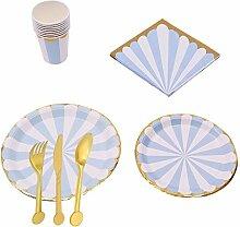 Qintaiourty Einweg-Geschirr-Set, Pappteller,