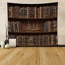 Qinunipoto Bücherregal aus Holz, Wandteppich,