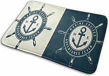 qinzuisp Area Rug Vintage Monochrom Nautical Logo
