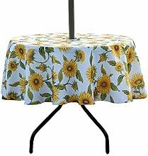 QIQIHOME Runde Tischdecke für Frühling und