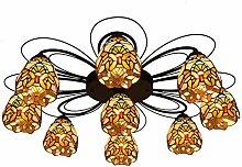 Qiuli Tiffany 9 Multi-Kopf-Deckenleuchte Barock