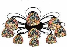 Qiuli Tiffany 9 Multi-Kopf-Deckenleuchte Farbige