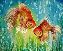 qiulv Goldfisch DIY Gemälde Stickerei Harz Acryl