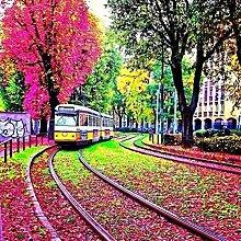 qiulv Herbst Diamant Gemälde DIY 5D Komplett Harz