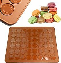 qiyuanls Macaron Backen Tafeltuch 48Fassungsvermögen Macaron Silikon Backmatte Form Modus, braun braun