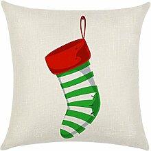 Qiyun. Z Christmas Baumwolle Kissenbezug Kissen werfen Home Decor Sofa Kissenbezug, quadratisch, Baumwoll-Leinen, Picture color 9, 45*45cm