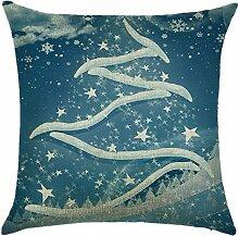Qiyun. Z Christmas Baumwolle Kissenbezug Kissen werfen Home Decor Sofa Kissenbezug, quadratisch, Baumwoll-Leinen, Picture color 2, 45*45cm