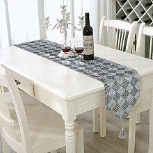 QIZHU0 Tischläufer einfache moderne Striped Home Textile Tischdecken Leinen Tischdecke gray 28*210