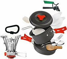 QJKai Camping Kochgeschirr Kit for 2 Personen