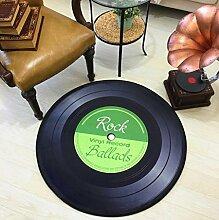 QJONKE Runde Vinyl-Bodenmatte Vintage Sofa Stuhl Bodenmatte Dekorativer Teppich,Green,80Cm