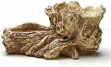 QJXSAN Blumentopf Antike künstliche Holz Pflanze