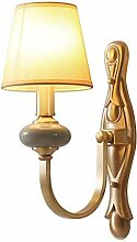 QJY Modern Stoff Keramik Wandlampe, Wohnzimmer