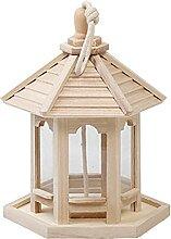 QKFON Holz-Pavillon Vogelfutterstation zum