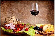 QKQB Weinglas Küche Lebensmittel Leinwand Malerei
