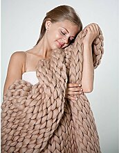 QLVY Knitting Yarn Blanket hand-woven Extreme Knitting Knitted Warm Pet Bed Chair Sofa Yoga Mat Khaki 100*150