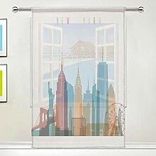QMIN Vorhang Morden New York City Fenster Tüll