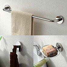QMM Bad-Accessoires, Edelstahl 3 Stück Bad-Zubehör-Set Handtuchhalter und Seifenschalen und Kleiderhaken