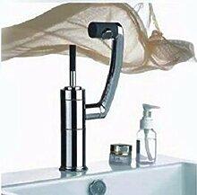 Qmpzg-Waschtisch Armatur Dusche mit heißem und kaltem Wasser Becken das Wasser werden kann um 360 Grad drehen, tippen Sie auf