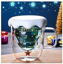 QMZDXH Weihnachtsbecher, Doppelwandige Isolierglas