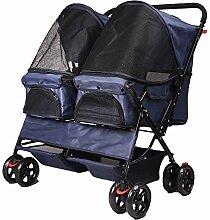 QNMM Doppel-Haustier-Kinderwagen 4 Räder