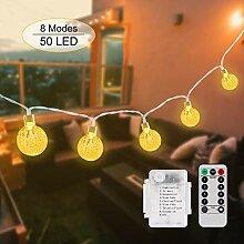Qomolo Lichterkette Aussen Batterie 50 LEDs IP65