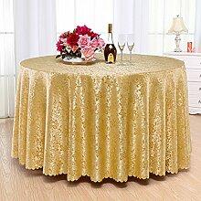 QPG Hotel Tischtücher Runder Tisch Gastronomie Restaurant Restaurant Couchtisch Tuch Benutzerdefinierte Euro Tisch Platz Tisch ( Farbe : Gold , größe : Diameter 300cm )