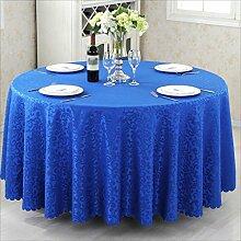 QPG Hotel Tischtücher Runder Tisch Gastronomie Restaurant Restaurant Couchtisch Tuch Benutzerdefinierte Euro Tisch Platz Tisch ( Farbe : Blau , größe : Diameter 180cm )