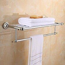 QPLA@Aluminium-Legierung doppelwandig montiert Handtuchhalter Handtuch Regal Regal. Bad-Accessoires , silver