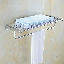QPLA@Aus verchromtem Messing Wand Handtuchhalter. Glas-Regal-Bad-Accessoires , stainless steel