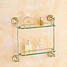 QPLA@Europäischen Stil moderne Doppelzimmer Bad Glas Regale Bad-Accessoires , golden