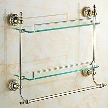 QPLA@Gold-Bad-Accessoires Glas Regale Bad Kosmetik Bad rack
