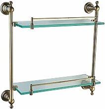 QPLA@Grüne Bad Accessoires Bronze Kupfer Edelstahl Doppelschicht-Glas Regal Bad Regal Glasablage 410 lange , bronze