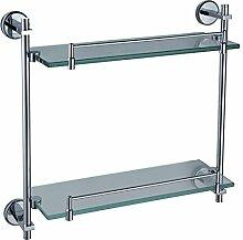 QPLA@Kaiping Kupfer Bad-Accessoires aus Edelstahl mit doppeltem Glas Rack Bad Regal Glas Ecke hängen stehen lange 415 , 415*130*370mm