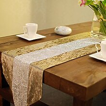 QPLA Mode Küche Zuhause Essen speisender Tabellen-Läufer/Tischläufer,khaki cm 33x200