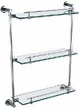 QPLA@Moderne Edelstahl Glastablare 304 poliert dreistufige Bad Bad-Accessoires