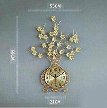 QPSSP Wohnzimmer - Tisch - Uhr Uhr Quarz - Uhr Kreativ - Vase Moderne Europäische Mode Auf Stille Wanduhr,C