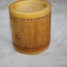 Qpw Alle geschnitzt Bambus Vase 15 * 12cm