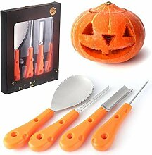 Qpw Halloween Kürbis Schnitz Tool Kit,Kürbis
