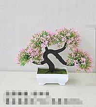 QQ-AILHP Künstliche Blumen Pflanzen Topfpflanze Dekoration Pink Red 19Cm
