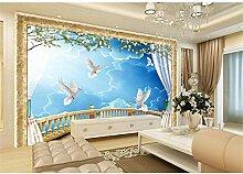 Qqasd Europa blauer Himmel Balkon Wallpaper Cutsom
