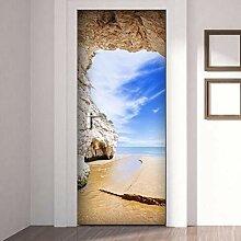 QQFENG 3D Beach Cave Landschaft Tür Aufkleber