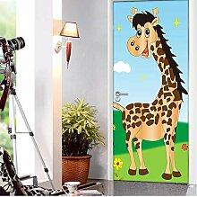 QQFENG 3D Giraffe Türaufkleber Tapete Für