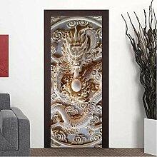QQFENG 3D Jade Carving Relief Tür Aufkleber Für