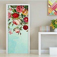 QQFENG 3D Schöne Blumen Schmetterling Tür