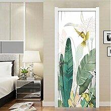 QQFENG Bananenblatt Blume Vogel Tür Aufkleber