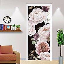 QQFENG Blumentür Wandbild Aufkleber Tapete